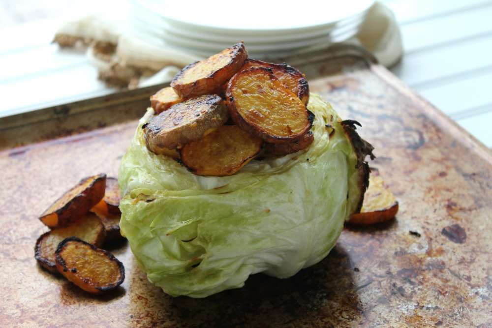 Roasted Cabbage and Golden Beet Pot O'Gold