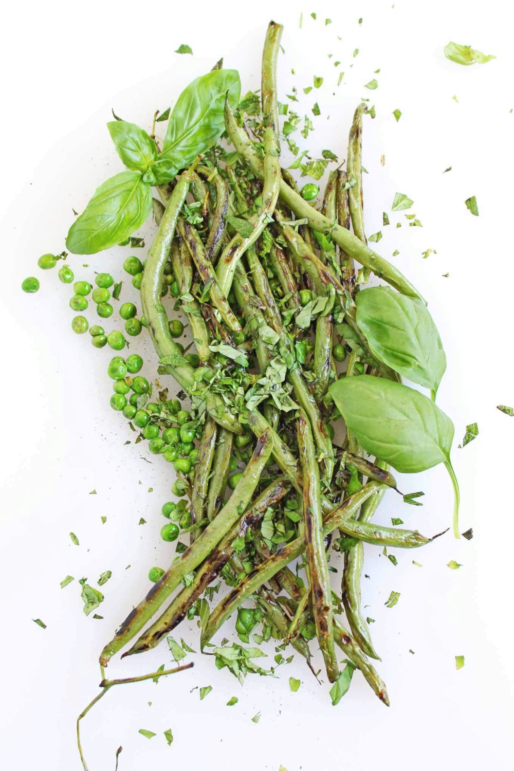 Sauteed pea and green bean salad with mint and basil