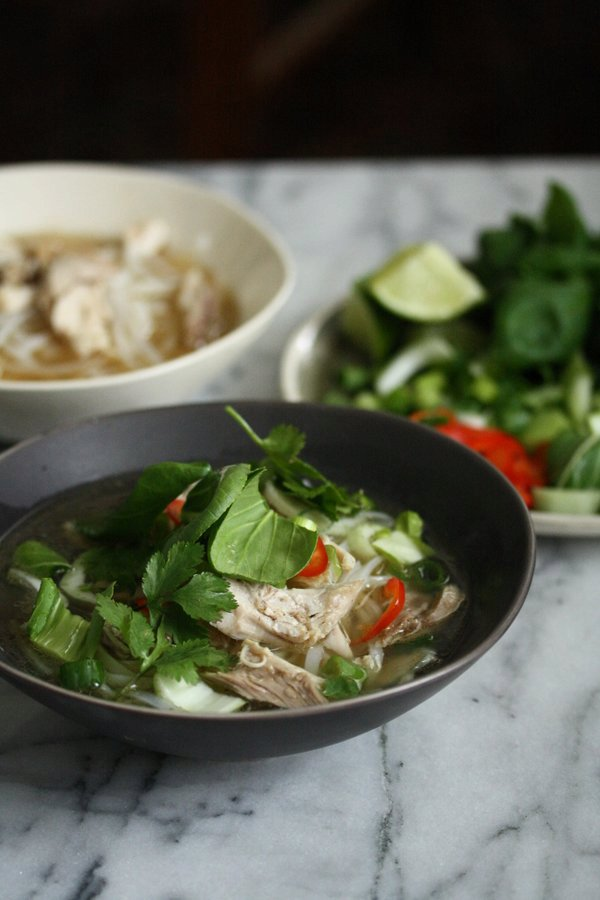 Easy Vietnamese Chicken Pho with Bok Choy and Herbs (Pho Ga Recipe)