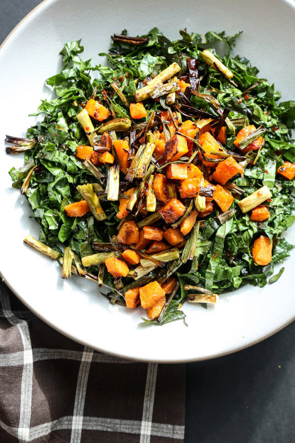 Massaged Kale Salad with Roasted Butternut Squash, Crispy Scallions and Sweet Chili Dressing