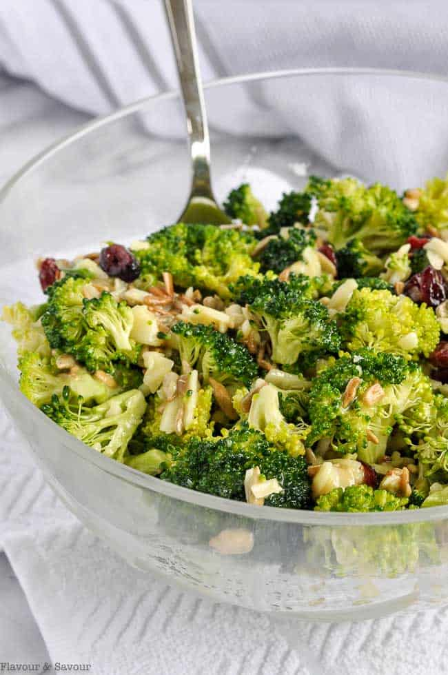 Honey-Dijon Broccoli Salad with Cranberries and Sunflower Seeds