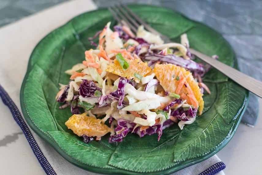 Low FODMAP Citrus Slaw with Creamy Grapefruit Dill Dressing