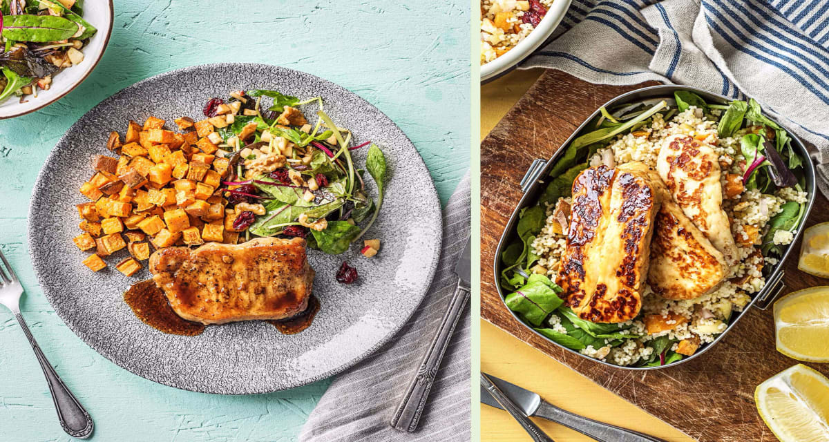 Balsamic-Glazed Pork Chop Dinner Plus a Grilling Cheese and Couscous Salad for Lunch